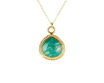 Amazonite necklace - teardrop necklace - gold bezel necklace - crystal necklace - green stone necklace