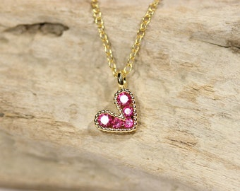 Tiny heart necklace - pink heart necklace - gold heart necklace - love necklace - bff necklace
