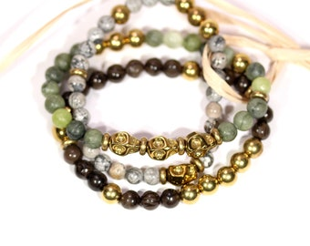 Skull bracelets - stacking bracelets - stone bracelet set - bracelets stack - set of bracelets