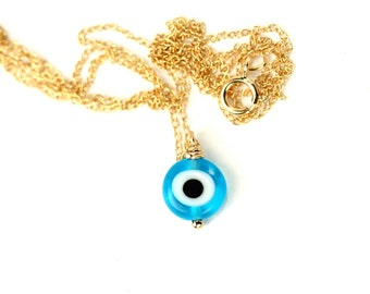 Evil eye necklace - blue evil eye - nazar - amulet - a blue glass evil eye wire wrapped onto a 14k gold vermeil or sterling silver chain