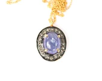 Diamond necklace -  tanzanite necklace - tanzanite and diamond necklace - A diamond lined tanzanite pendant on a 14k gold filled chain