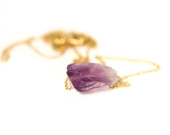 Amethyst necklace - raw crystal necklace - february birthstone - crystal necklace - a raw amethyst nugget on a 14k gold vermeil chain