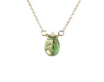 Tourmaline necklace - crystal necklace - healing crystal - watermelon tourmaline - a juicy tourmaline drop on a 14k gold vermeil chain