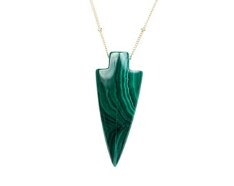 Arrowhead necklace - malachite necklace - mineral necklace - spear necklace - a malachite arrowhead on a 14k gold filled satellite chain