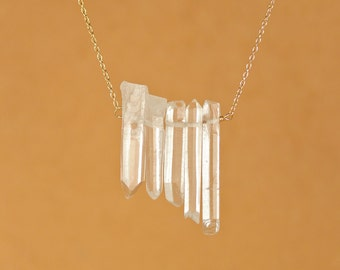 Crystal bar necklace - quartz necklace - quartz crystal wands - a wire wrapped row of 5 raw quartz crystal wands on 14k gold vermeil chain
