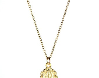 Virgin mary necklace - religious necklace - catholic necklace - amulet - a tiny gold virgin mary on a 14k gold vermeil chain
