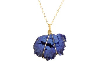 Azurite geode necklace, raw crystal necklace, druzy necklace, blue rock necklace, azurite geode necklace, mineral jewelry, 14k gold filled