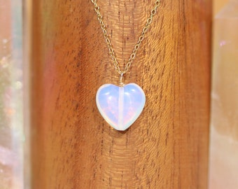 Opalite heart necklace - crystal heart - love stone - healing jewelry - crystal necklace