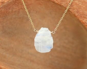 Crystal slice necklace - raw moonstone necklace - rainbow moonstone necklace - june birthstone necklace