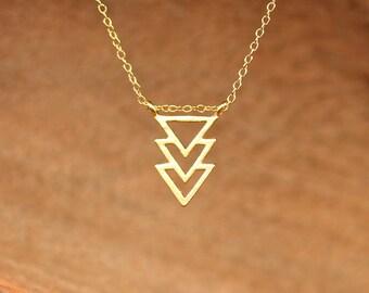 Triangle necklace - geometric necklace - chevron necklace - three triangles necklace - a gold triangle pendant on 14k gold vermeil chain