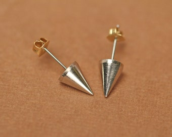 Gold spike earrings - spike studs - silver spike earrings - spike studs