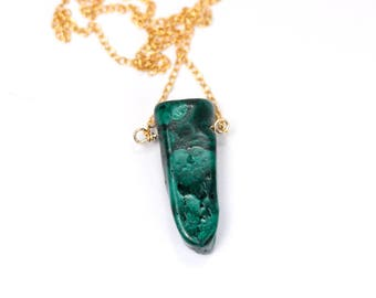 Malachite necklace - mineral necklace - healing crystal necklace - green stone pendant necklace - long necklace