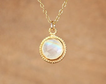 Moonstone necklace - gold moonstone - june birthstone - a bezel set faceted moonstone on a 14k gold vermeil chain - solitaire necklace