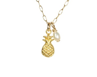 Pineapple and pearl necklace, tropical necklace, Hawaiian, a tiny pineapple on a 14k gold filled chain with a freshwater pearl, minimalist