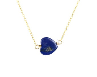 Lapis heart necklace - lapis lazuli necklace - blue heart necklace - love necklace