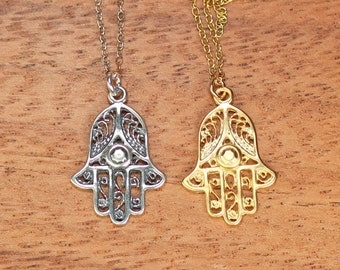 Hamsa necklace - gold hamsa charm - protection - amulet - a filigree style 22k gold overlay hamsa on a 14k gold vermeil or satellite chain