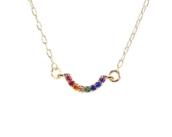 Rainbow necklace - charka necklace - happy necklace - LGBTQ necklace - birthstone necklace