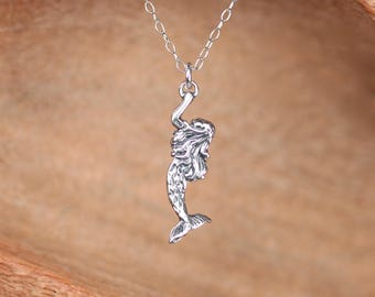 Mermaid necklace - silver mermaid necklace - sea princess - a sterling silver mermaid on a sterling silver chain