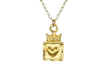 Heart and crown necklace - royal crown - crown necklace - gold heart necklace - a 14k gold filled heart and crown on a 14k gold filled chain
