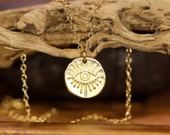 Third eye necklace, gold evil eye pendant, crying eye necklace, all seeing eye, negative energy protection, boho necklace in gold