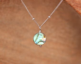 Abalone necklace - disc necklace - wedding necklace - simple necklace