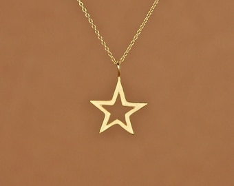 Gold star necklace - star necklace - star - twinkle twinkle little star - a little 22k gold overlay star outline on 14k gold vermeil chain