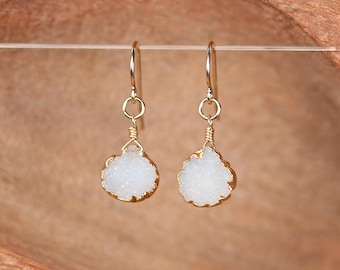 Druzy Earrings - raw crystal earrings / teardrop / drop earrings / dangle earrings