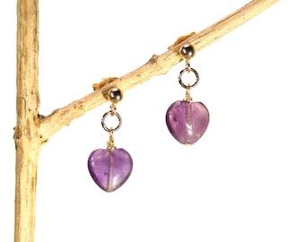 Heart earrings - amethyst stud earrings - drop earrings - purple heart earrings - birthstone earrings - gold stud crystal earrings