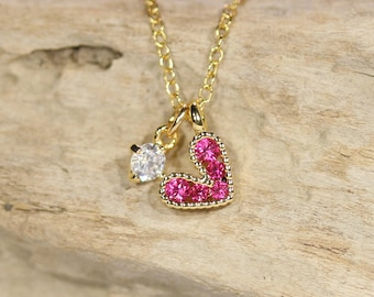 Pink gem heart necklace - tiny heart necklace - love necklace - crystal heart charm necklace - bff necklace