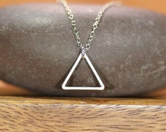 Silver triangle necklace, simple necklace, everyday necklace, geometric necklace, layering necklace, minimalist necklace, triangle pendant