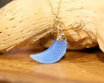 Blue druzy moon necklace - crescent moon necklace - crystal moon necklace - moon druzy necklace