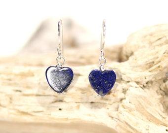 Lapis earrings, blue heart earrings, lapis lazuli dangle earrings, gift under 30, love gift, September birthstone, something blue,