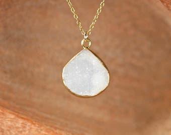 Druzy necklace - raw crystal necklace - quartz necklace - gold bezel necklace - a gold lined druzy on a 14k gold vermeil chain - DR07