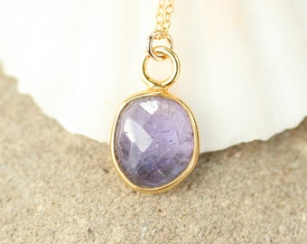 Tanzanite necklace, purple crystal necklace, purple gemstone pendant, a gold bezel set purple tanzanite on a 14k gold filled chain