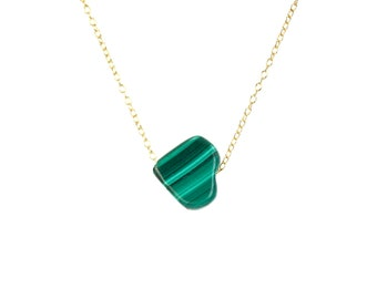 Malachite necklace - heart necklace - love necklace - green stone necklace
