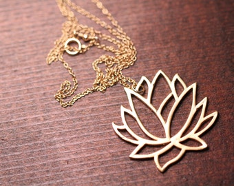 Lotus necklace - gold lotus necklace - yoga necklace - lotus flower - gold lotus flower on a 14k gold vermeil chain