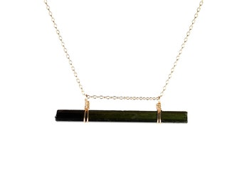 Tourmaline necklace - raw crystal - black crystal schorl necklace - a gold dipped raw tourmaline wand on a 14k gold vermeil chain - TM07