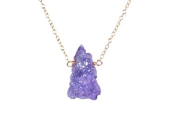 Aura quartz necklace - purple aura quartz necklace - purple crystal necklace - purple aura crystal wire wrapped onto 14k gold vermeil chain