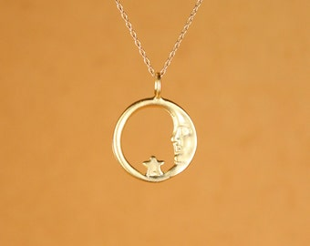 Moon necklace - sun moon and star - moon and star necklace - a gold vermeil moon and star hoop hanging on a 14k gold vermeil chain