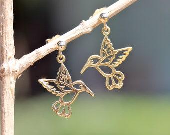 Hummingbird earrings - gold charm earrings - bird earrings - gold dot earrings - dangle earrings