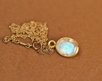Moonstone necklace - gold moonstone - june birthstone - a fancy 22k gold lined faceted moonstone on a 14k gold vermeil chain