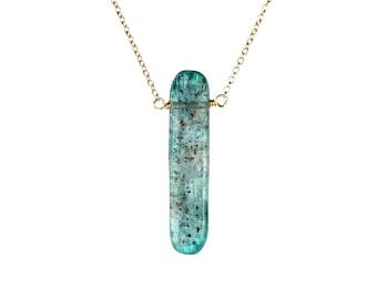 Boho necklace - kyanite crystal necklace - blue kyanite - beach - mineral necklace - a kyanite bar wire wrapped onto 14k gold vermeil chain