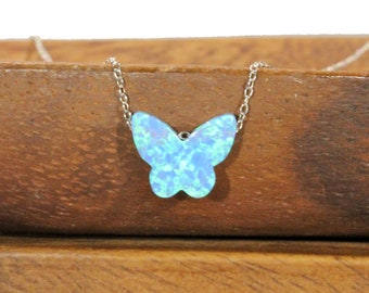 Opal butterfly necklace, blue butterfly pendant, monarch butterfly jewelry, cute gift, fairytale necklace, sterling silver necklace