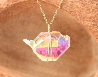 Angel aura quartz necklace - faden quartz necklace - rainbow crystal - A one of a kind rainbow aura faden quartz on 14k gold filled chain