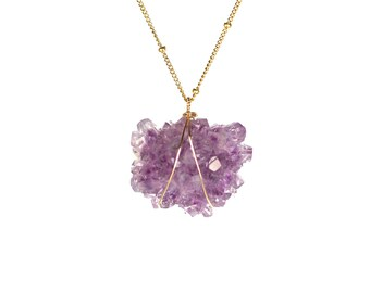 Amethyst necklace - amethyst stalactite - raw crystal star - healing crystal - a natural amethyst star on a 14k gold filled satellite chain