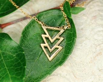 Chevron necklace - triangle necklace - geometric necklace - three triangle necklace - a gold vermeil spike pendant on 14k gold vermeil chain
