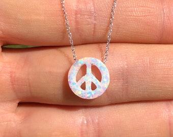 Opal peace necklace, peace sign jewelry, peace symbol, opal jewelry, zen, cute gift idea