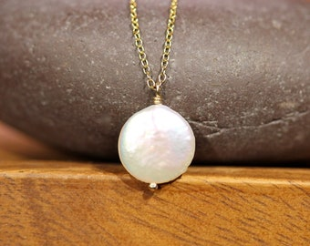 Coin pearl necklace, pearl wedding jewelry, round ivory pearl necklace, freshwater pearl, a wire wrapped pearl disc, gold wrapped pearl