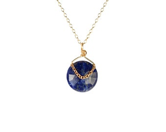 Lapis necklace - lapis lazuli - december birthstone - midnight blue - a genuine lapis gemstone wire wrapped onto on a 14k gold filled chain