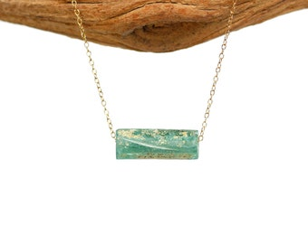 Sea glass necklace - roman glass necklace - ancient glass necklace - opalized - ancient roman glass on a 14k gold filled chain